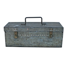 Primitive Galvanized Metal Tool Box C1910s