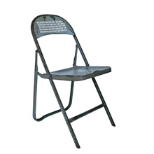 Charming Grey Perforated Metal Folding Chair C1940
