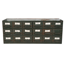 Green Equipto Industrial Parts Cabinet W/ Vintage Drawer Labels C1940