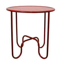 Red Metal Side Table W/ Tubular Base C1955