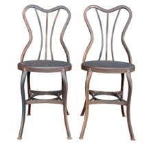 Pair of Raw Steel Toledo Cafe Chairs c1930