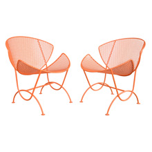 Pair of Bright Orange Salterini Slice Chairs c1960