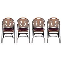 Set of 4 Folding Auditorium Chairs c1930s
