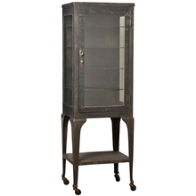 Tall Raw Steel Medical Cabinet w/ Cast Legs c1910