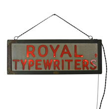Early Royal Typewriters Illuminated Sign c1915