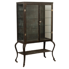 Enormous Steel and Glass Medical Cabinet w/ Cabriole Legs c1900