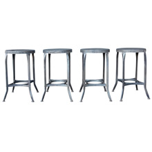 Set of 4 Raw Metal Toledo Stools c1940