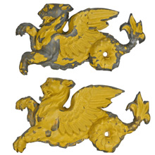 Pair of Painted Tin Gryphon Cartouches c1900s