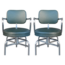 Pair of Green Vinyl Barber Shop Chairs W/ Tubular Chrome Bases c1945