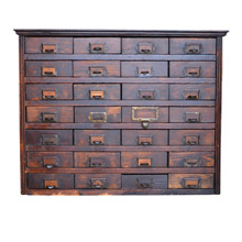 Beautiful 28-Drawer General Store Oak Cabinet c1925