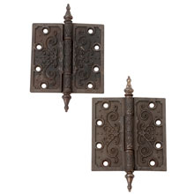 Pair of Ornate Cast Iron Steeple Tip Hinges C1885