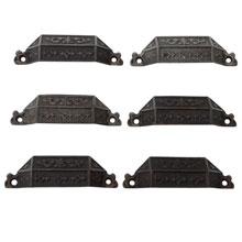 Set of 6 Cast Iron Renaissance Revival Bin Pulls C1870