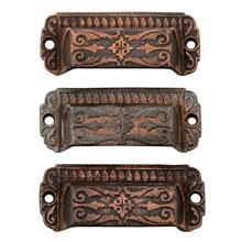 Set of 3 Cast Iron Eastlake Bin Pulls W/ Copper Wash, c1880