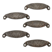 Set of 5 Cast Iron Eastlake Bin Pulls C1880