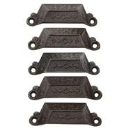 Set of 5 Renaissance Revival Cast Iron Bin Pulls C1871