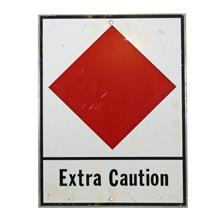 Rare Red Diamond Extra Caution Mountaineering Sign C1964
