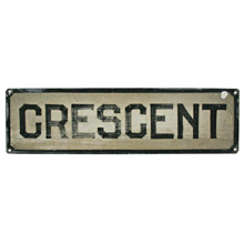 Hand-Painted Crescent Sign C1930