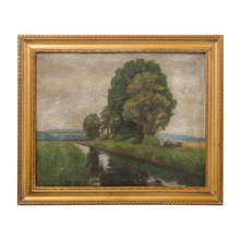 Lovely Original Oil Painting of Field and River c1920