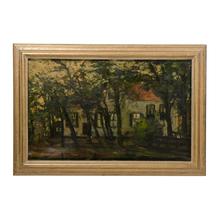 Original Oil Painting of a European Farmhouse c1920