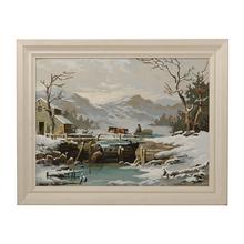 Vintage Winter Landscape Paint by Numbers c1965