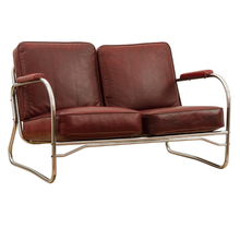 Barber Shop Loveseat w/ Red Vinyl Cushions c1940s