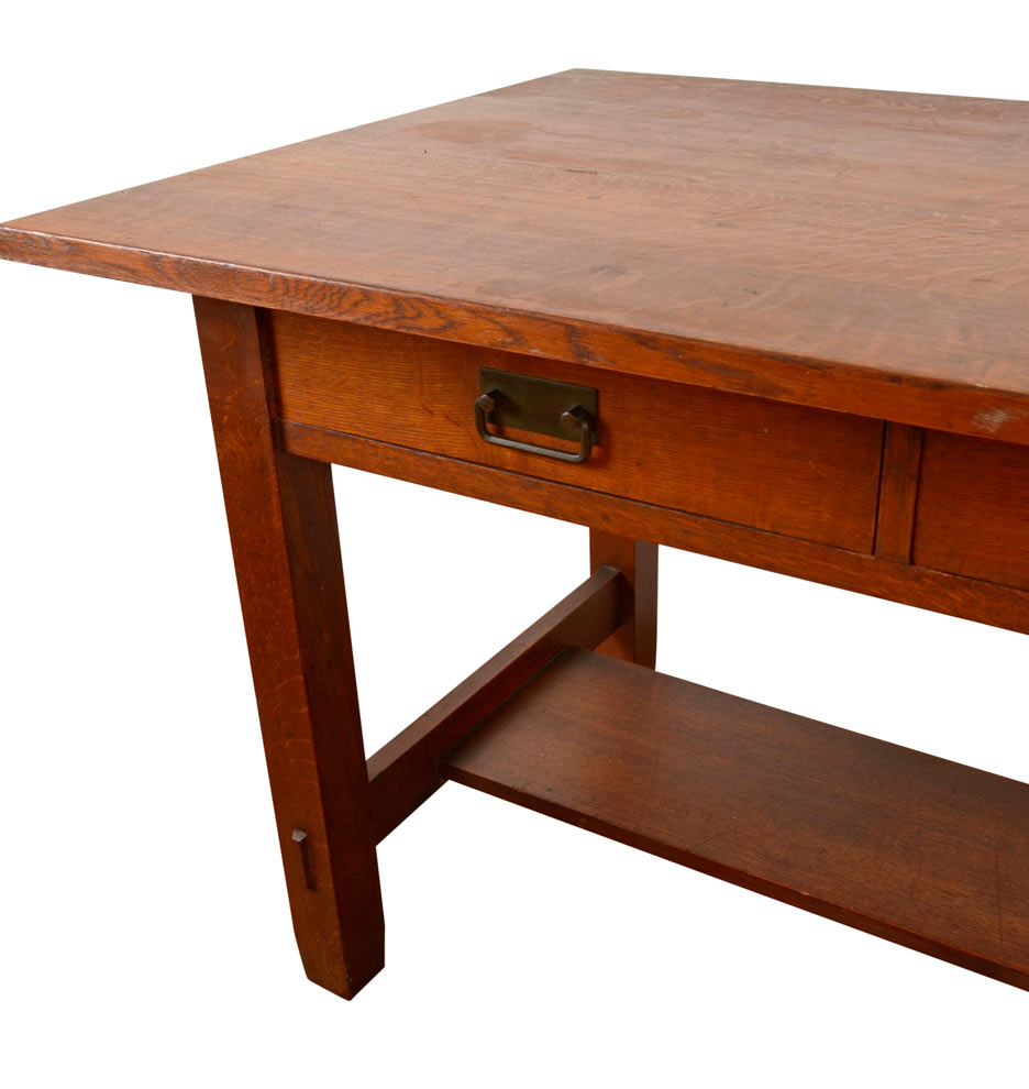 solid oak stickley style library desk rejuvenation f4776 f4776a f4776b