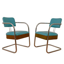 Pair of Teal and Tan Vinyl Barber Shop Chairs c1945
