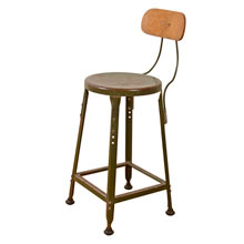 Factory Stool w/ Plywood Back Rest c1940