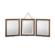Oak Trifold Mirror w/ Beveled Glass c1915