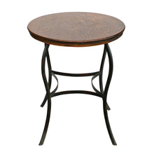Toledo Furniture Company Cafe Table W/ Japanned Copper Base and Oak Top C1915