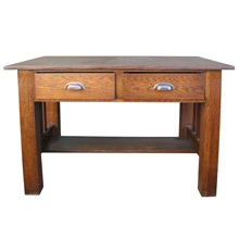 Solid Oak Arts & Crafts Library Desk C1910
