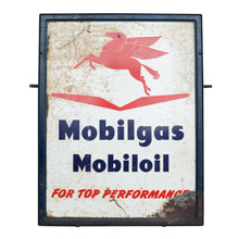 Rustic Mobil Oil Gas Station Sign C1940s