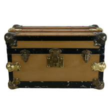 Excelsior Flat Top Doll Trunk W/ Oak and Brass Details C1910