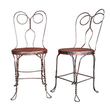 Pair of Japanned Copper Chicago Wire Company Chairs C1900
