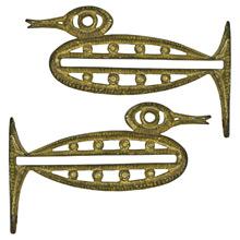 Pair of Gilt Brass Arts & Crafts Duck Shelf Brackets C1910