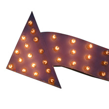 Giant Double-Sided Purple Arrow Marquee Sign c1940