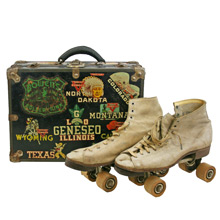 Skate Case W/ Conoco Decals and Leather Roller Skates C1940s