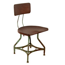 Factory Chair W/ Masonite Seat by Toledo Metal Furniture Co c1930s