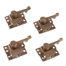 Set of 4 Bronze Industrial Sash Locks c1880