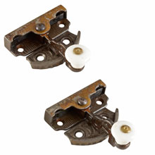 Pair of Cast Iron and Porcelain Sash Locks c1875