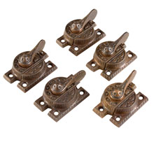 Set of 5 Ornate Brass Sash Locks c1875