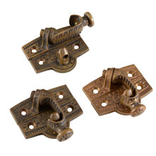 Set of 3 Ornate Cast Brass Sash Locks c1875