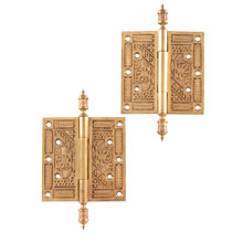 Pair of 5 In Ornate Bronze Hinges c1880