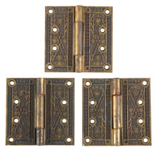 Set of 3 Ornate Brass Plated Hinges 4 In c1880