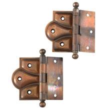 Copper Half Mortise Ball Tip Door Hinges c1900