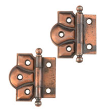 Petite Copper Half Mortise Ball Tip Hinges c1900