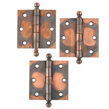 Set of 3 Japanned Copper 3 1/2 In Hinges c1895