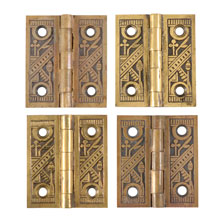 Set of 4 Ornate Brass Shutter Hinges c1883