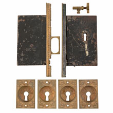 Norwalk Lock Co Aesthetic Double Pocket Door Set c1880