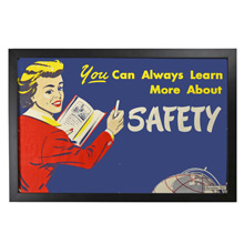 Framed Factory Poster Learn Safety c1957